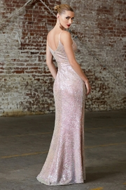 Cinderella Divine Opal Blush Fitted Sequin Long Formal Dress - Front full body