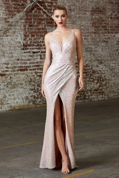 Cinderella Divine Opal Blush Fitted Sequin Long Formal Dress - Product List Image