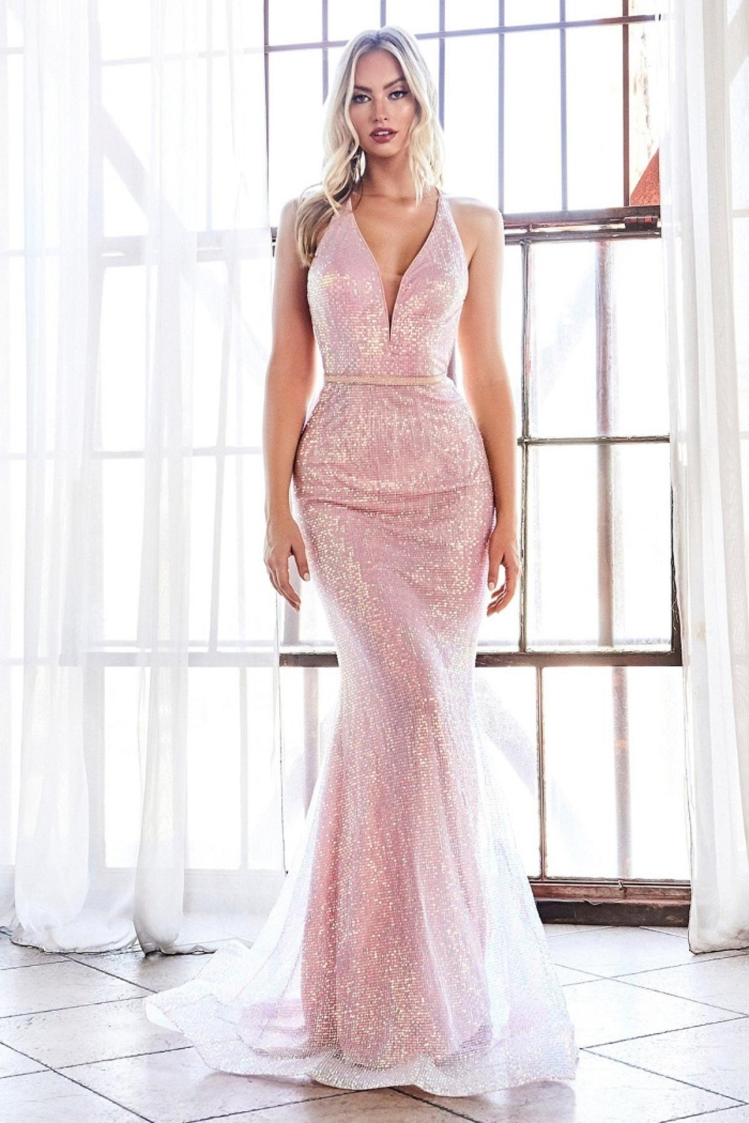 Cinderella Divine Opal Blush Sequin Fit & Flare Long Formal Dress - Main Image
