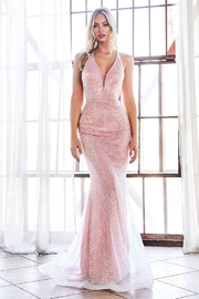 Cinderella Divine Opal Blush Sequin Fit & Flare Long Formal Dress - Front cropped