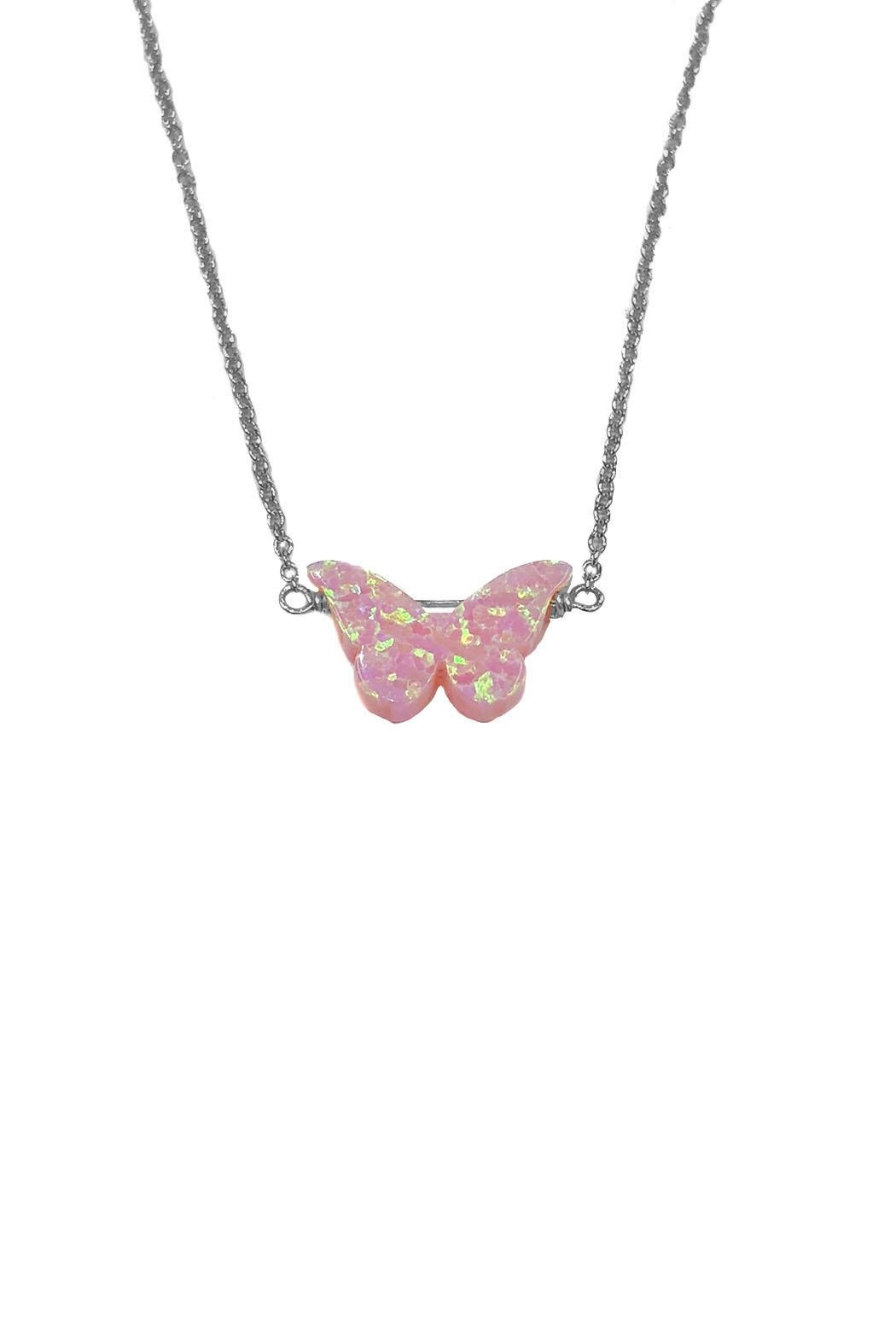 Lets Accessorize Opal Butterfly Necklace - Front Cropped Image