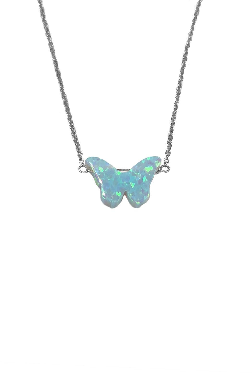 Lets Accessorize Opal Butterfly Necklace - Main Image