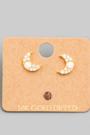 FAME ACCESORIES Opal Crescent Earrings - Front cropped