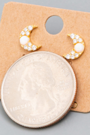 FAME ACCESORIES Opal Crescent Earrings - Front full body