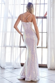 Cinderella Divine Opal Lilac Sequin Fit & Flare Long Formal Dress - Front full body