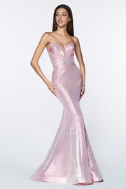 Cinderella Divine Opal Pink Strapless Fit & Flare Long Formal Dress - Front cropped