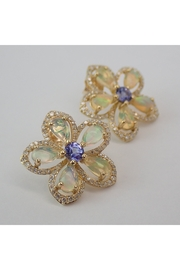 Margolin & Co Opal Tanzanite Diamond Stud Flower Earrings - Product Mini Image