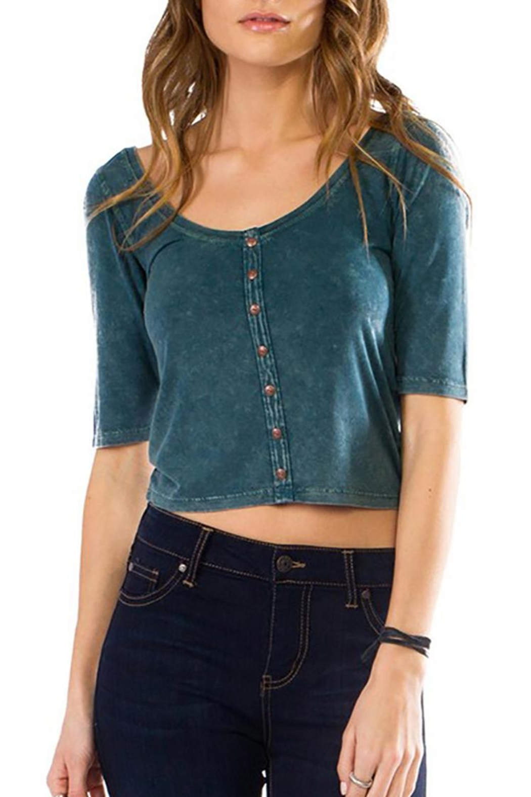 Anama Open-Back Button-Down Crop - Main Image