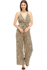 A Peach Open-Back Cheetah Jumpsuit - Product Mini Image