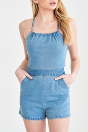 blue blush Open Back Denim Romper - Product Mini Image
