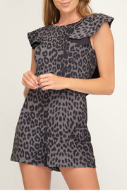 She + Sky Open back faux suede flounce leopard print romper - Product Mini Image