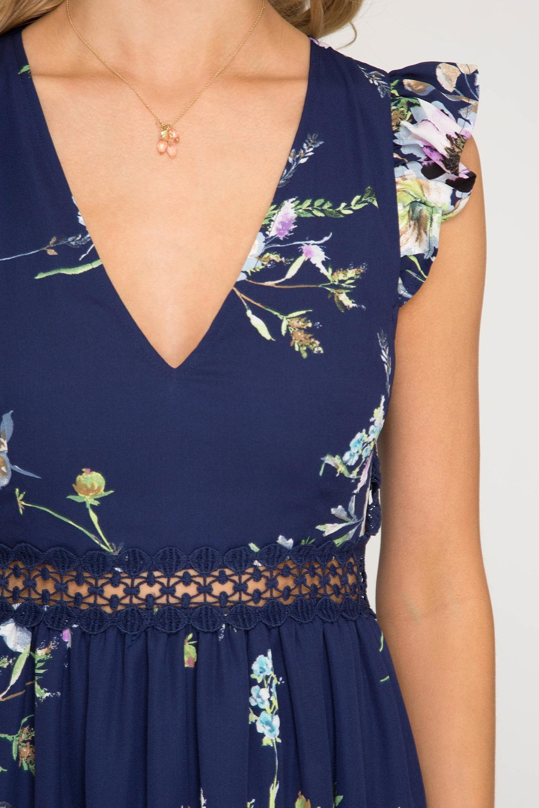 She + Sky Open-Back Floral Maxi - Back Cropped Image
