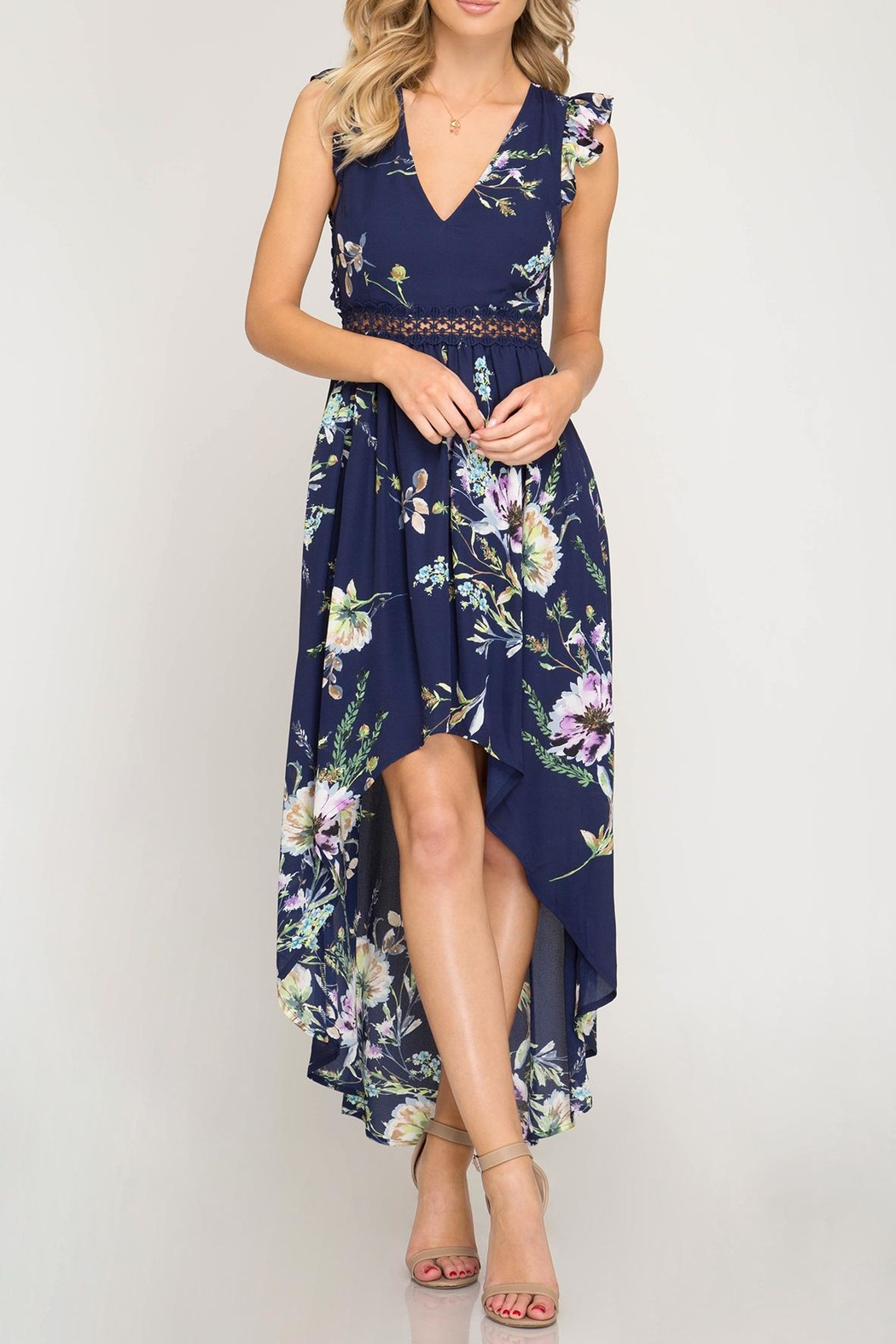 She + Sky Open-Back Floral Maxi - Main Image