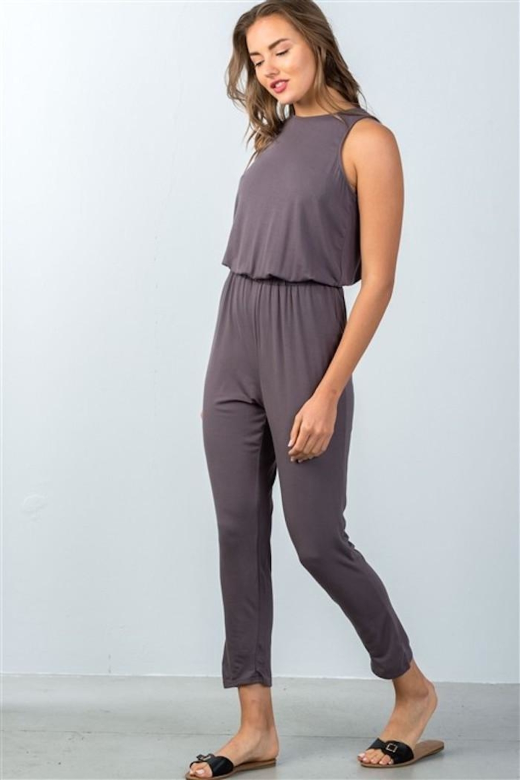 Compendium boutique Open-Back Jumpsuit Stone - Main Image