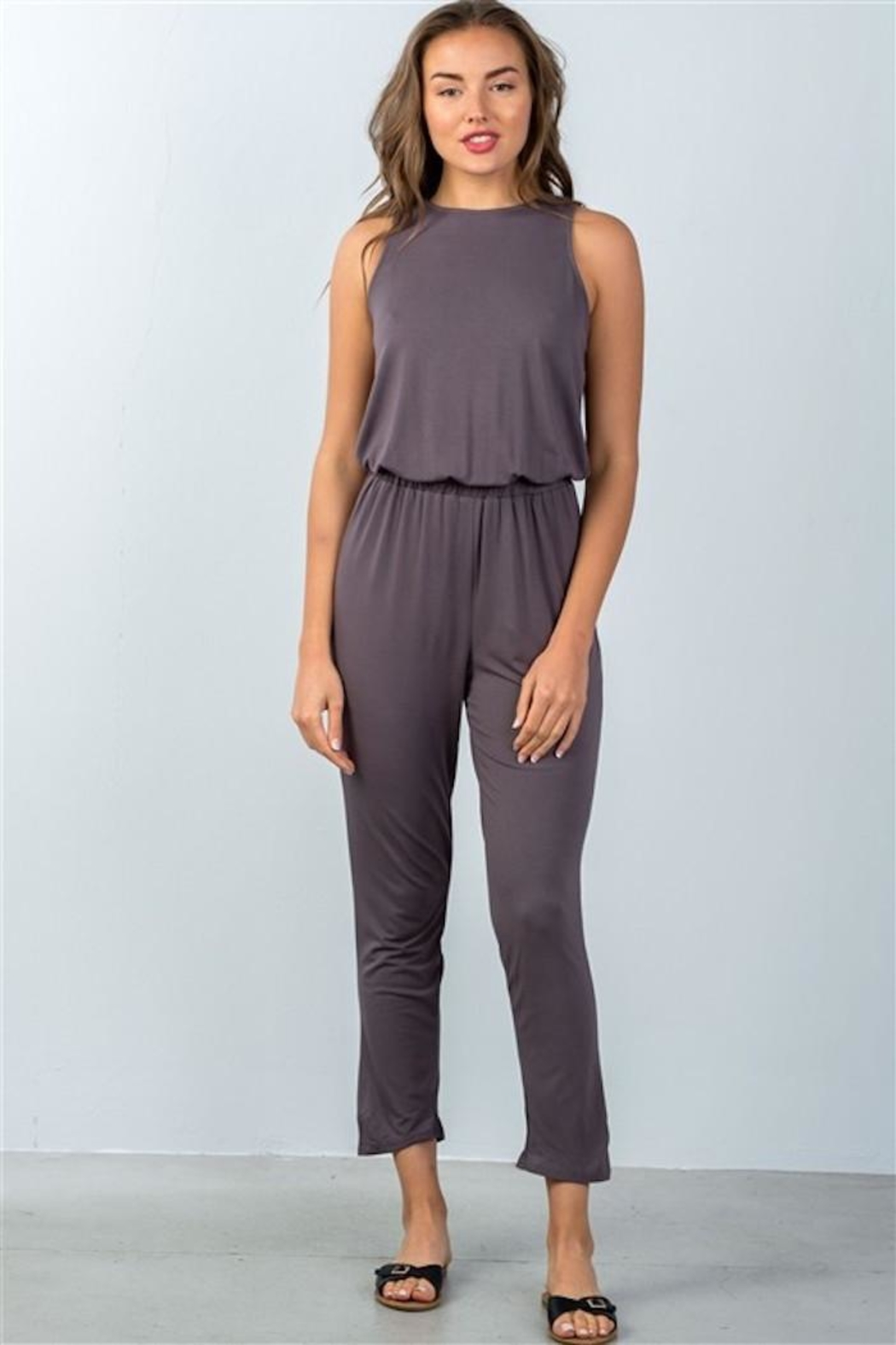 Compendium boutique Open-Back Jumpsuit Stone - Front Full Image
