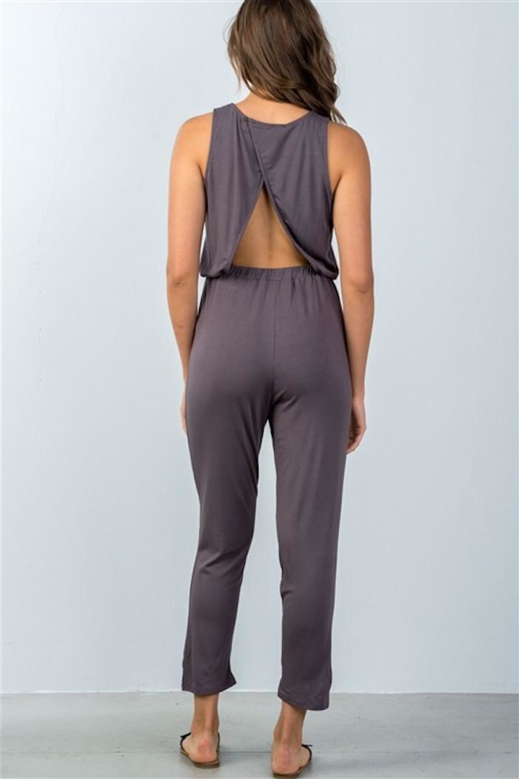 Compendium boutique Open-Back Jumpsuit Stone - Side Cropped Image