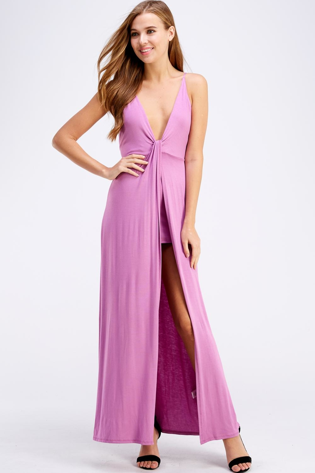 blue blush Open Back Maxi - Front Cropped Image