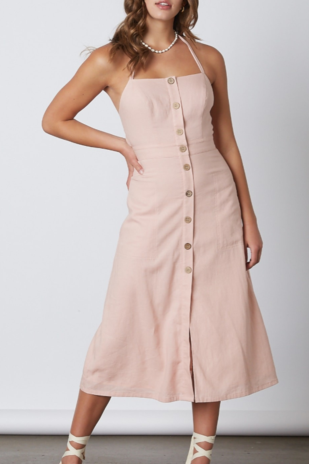 Cotton Candy  Open Back Midi Dress - Side Cropped Image