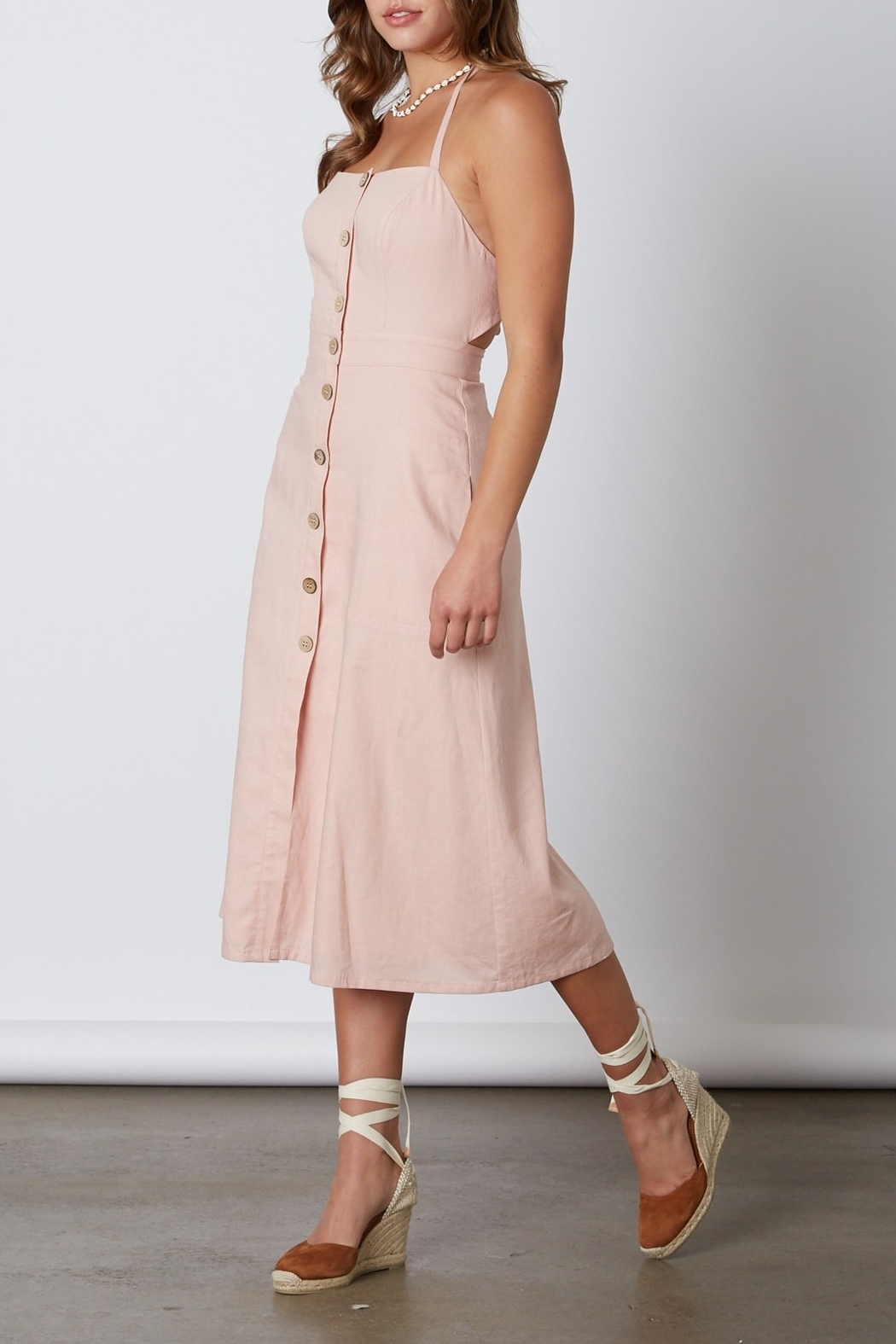Cotton Candy  Open Back Midi Dress - Front Cropped Image