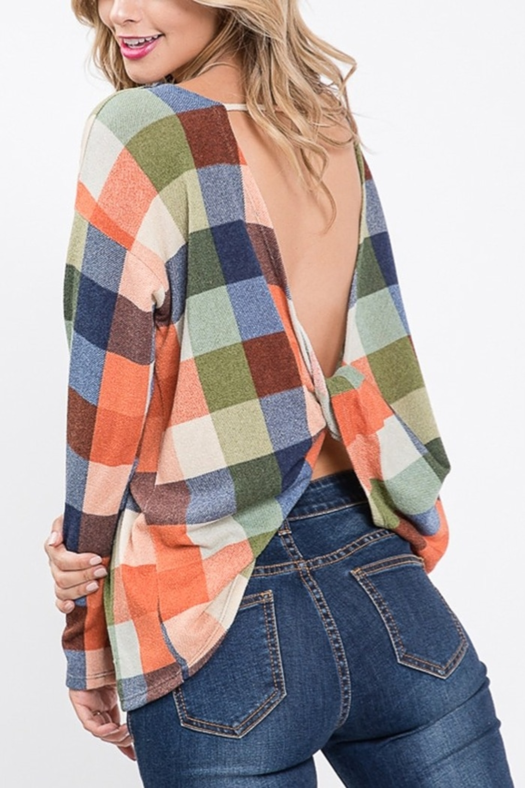 Lyn -Maree's Open Back Plaid Top - Main Image