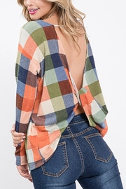 Lyn -Maree's Open Back Plaid Top - Front cropped
