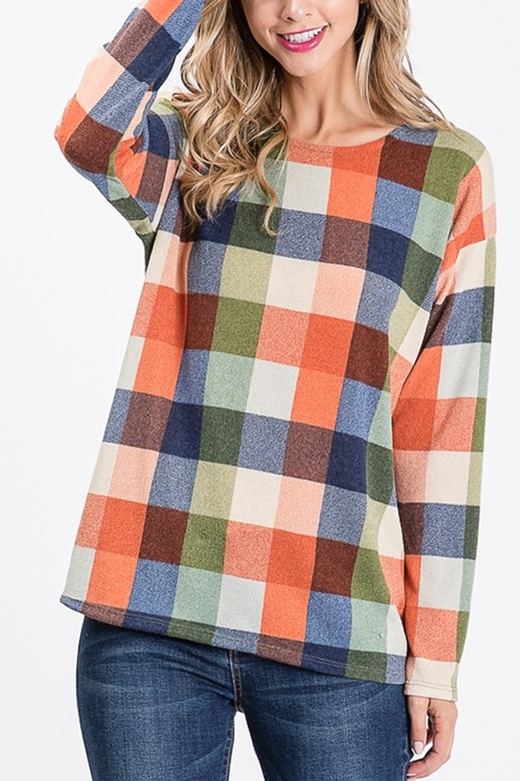 Lyn -Maree's Open Back Plaid Top - Front Full Image