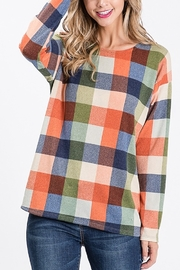 Lyn -Maree's Open Back Plaid Top - Front full body