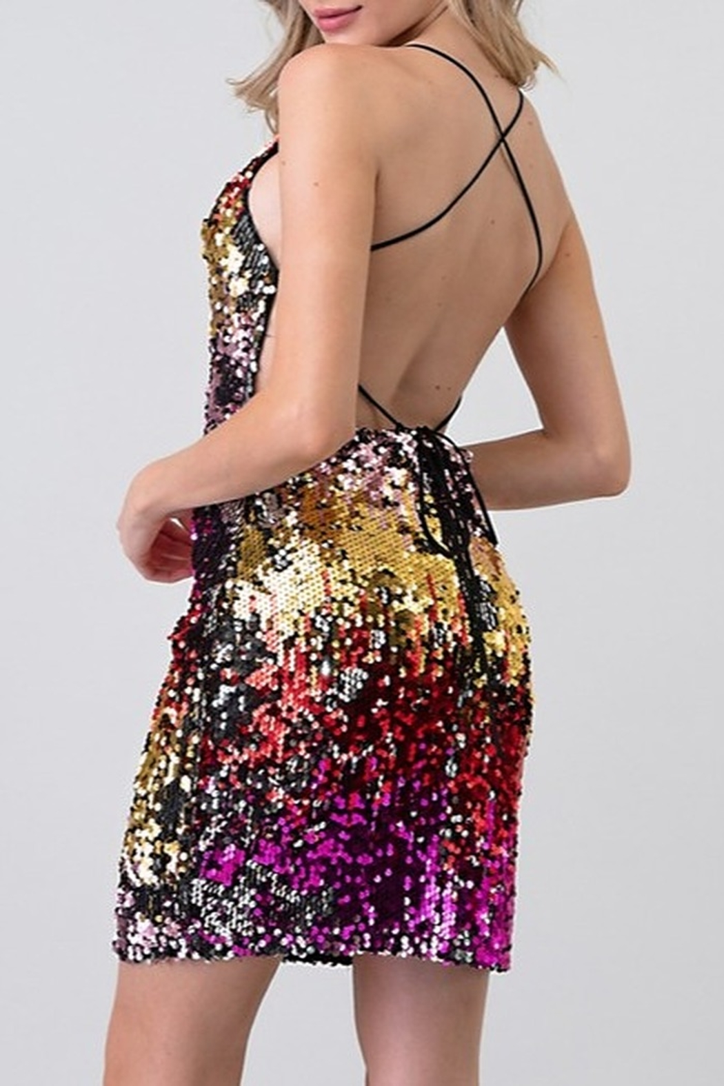 Minuet Open Back Sequin Dress - Side Cropped Image