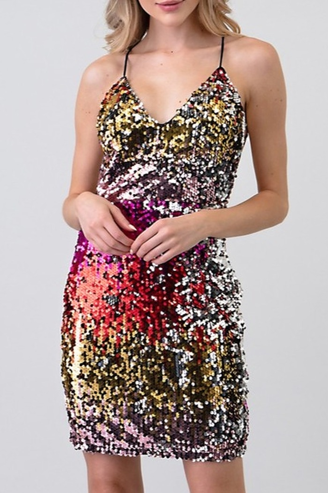 Minuet Open Back Sequin Dress - Front Full Image