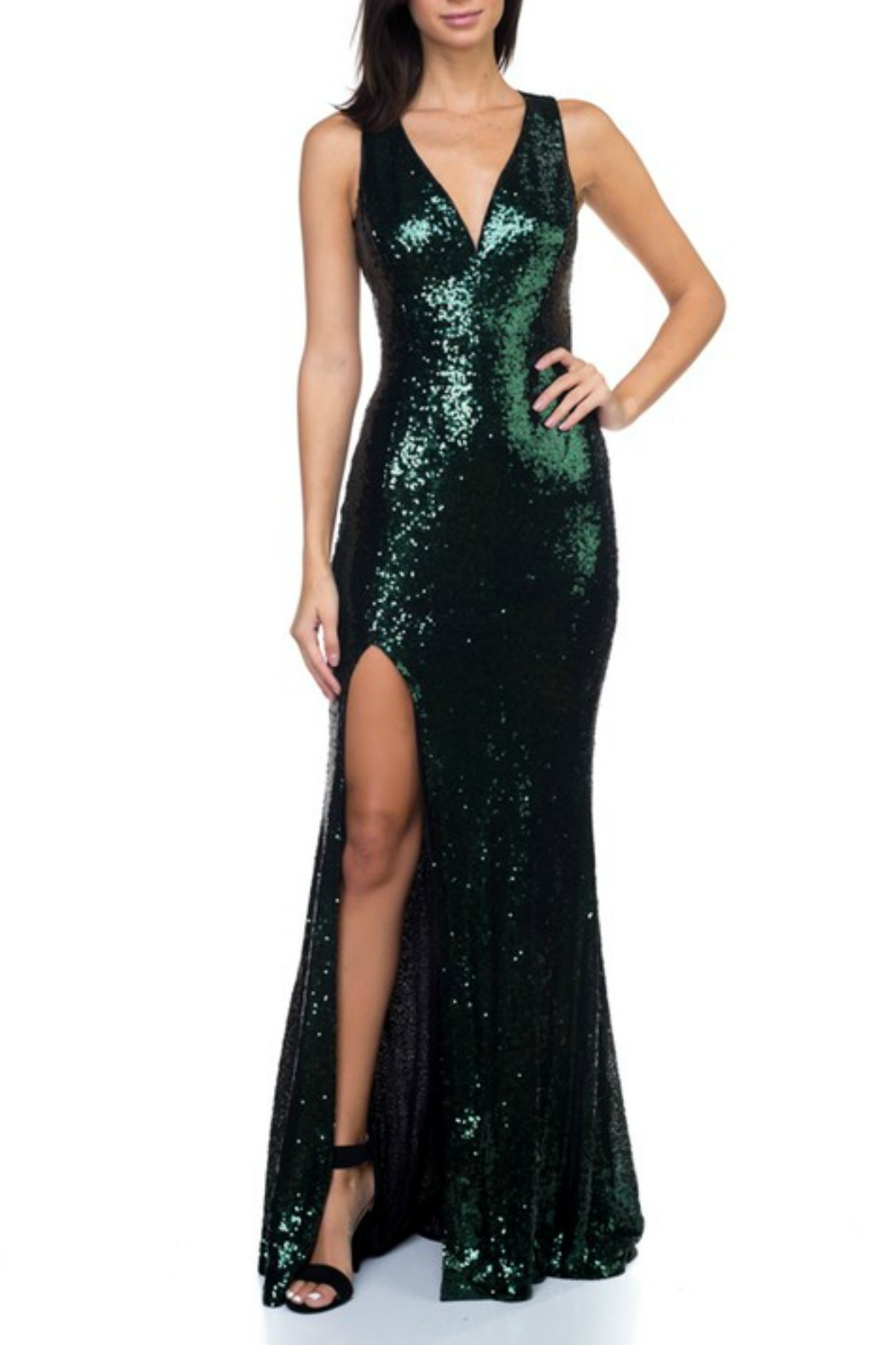 Ricarica Open Back Sequin Gown - Front Cropped Image