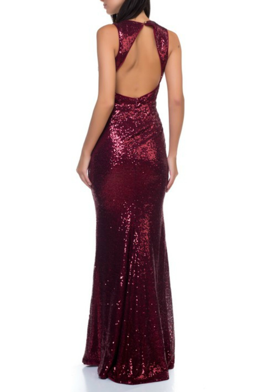 Ricarica Open Back Sequin Gown - Front Full Image
