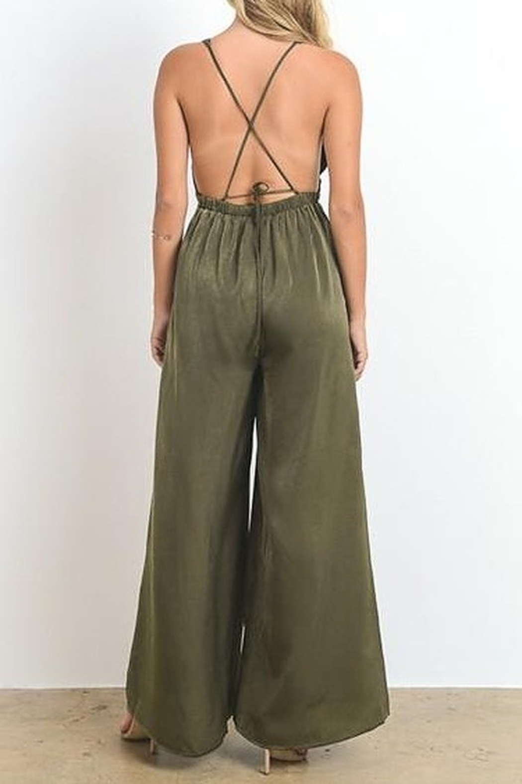 Hommage Open Back Silk  Jumpsuit - Front Full Image