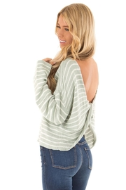She + Sky Open Back Striped Sweater - Product Mini Image