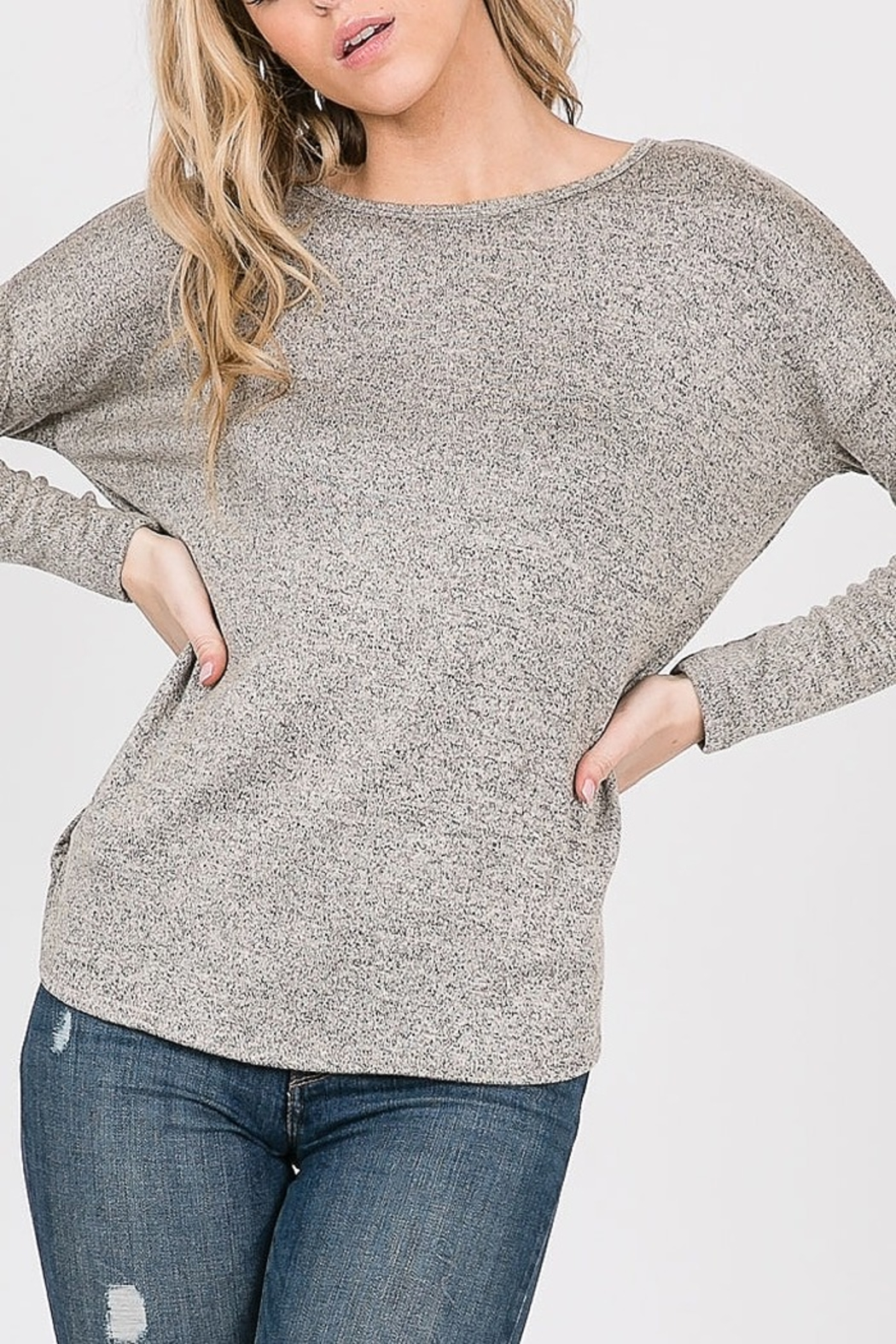 Cozy Casual  Open Back Twist Top - Front Full Image