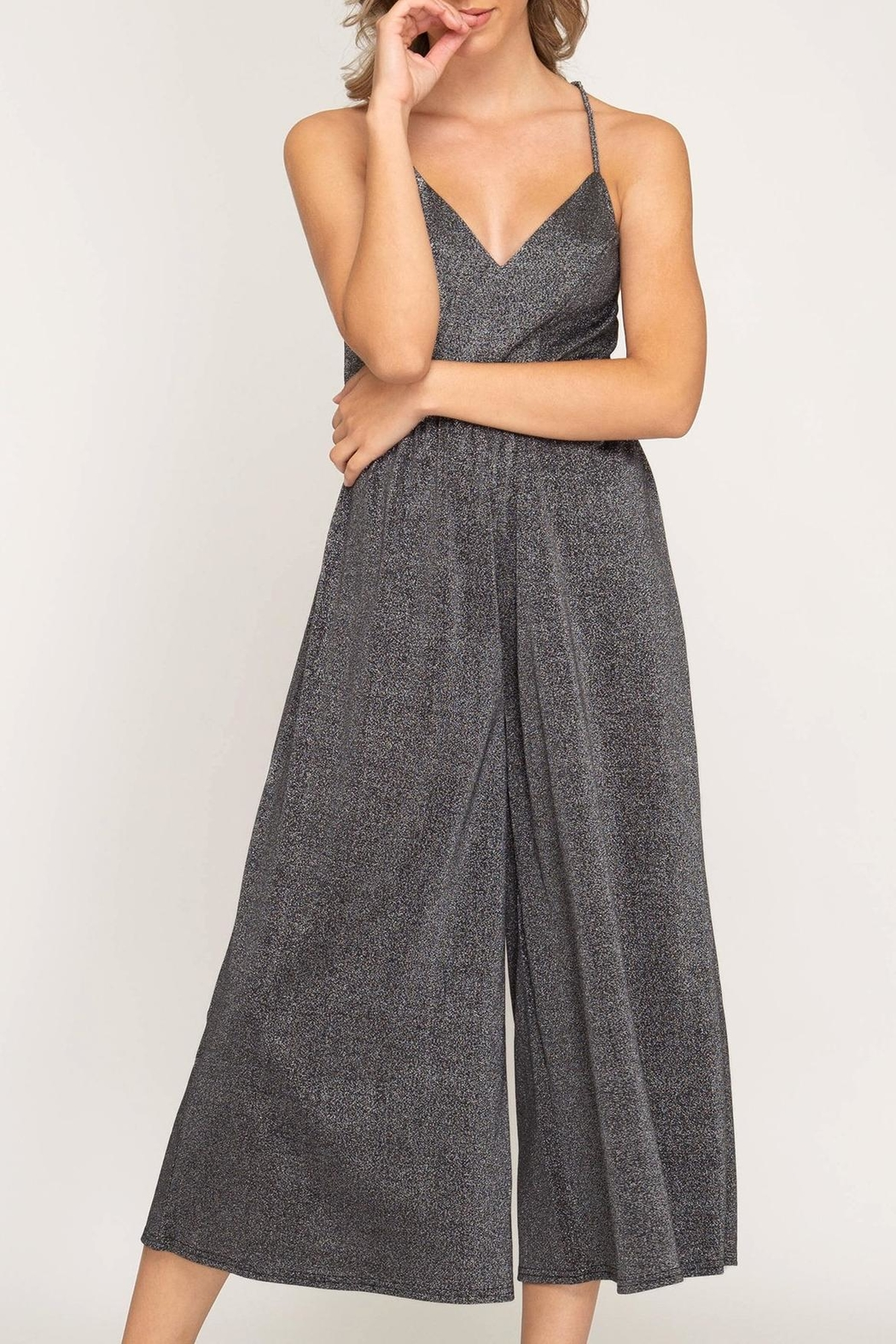 She + Sky Open-Back Wide-Leg Jumpsuit - Front Cropped Image