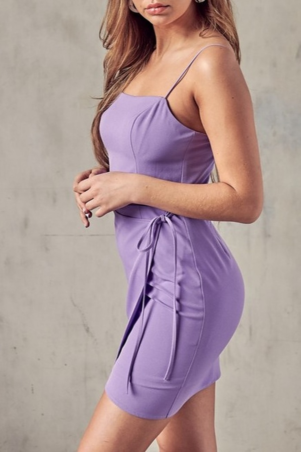blue blush Open Back Wrap Dress - Front Full Image