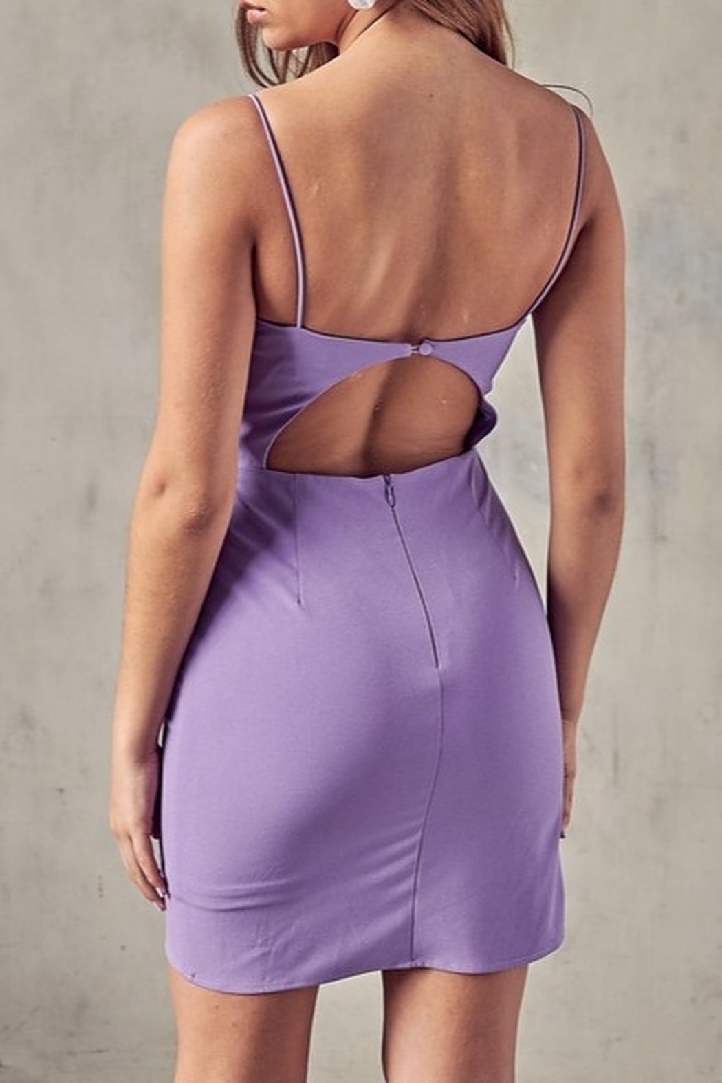 blue blush Open Back Wrap Dress - Side Cropped Image