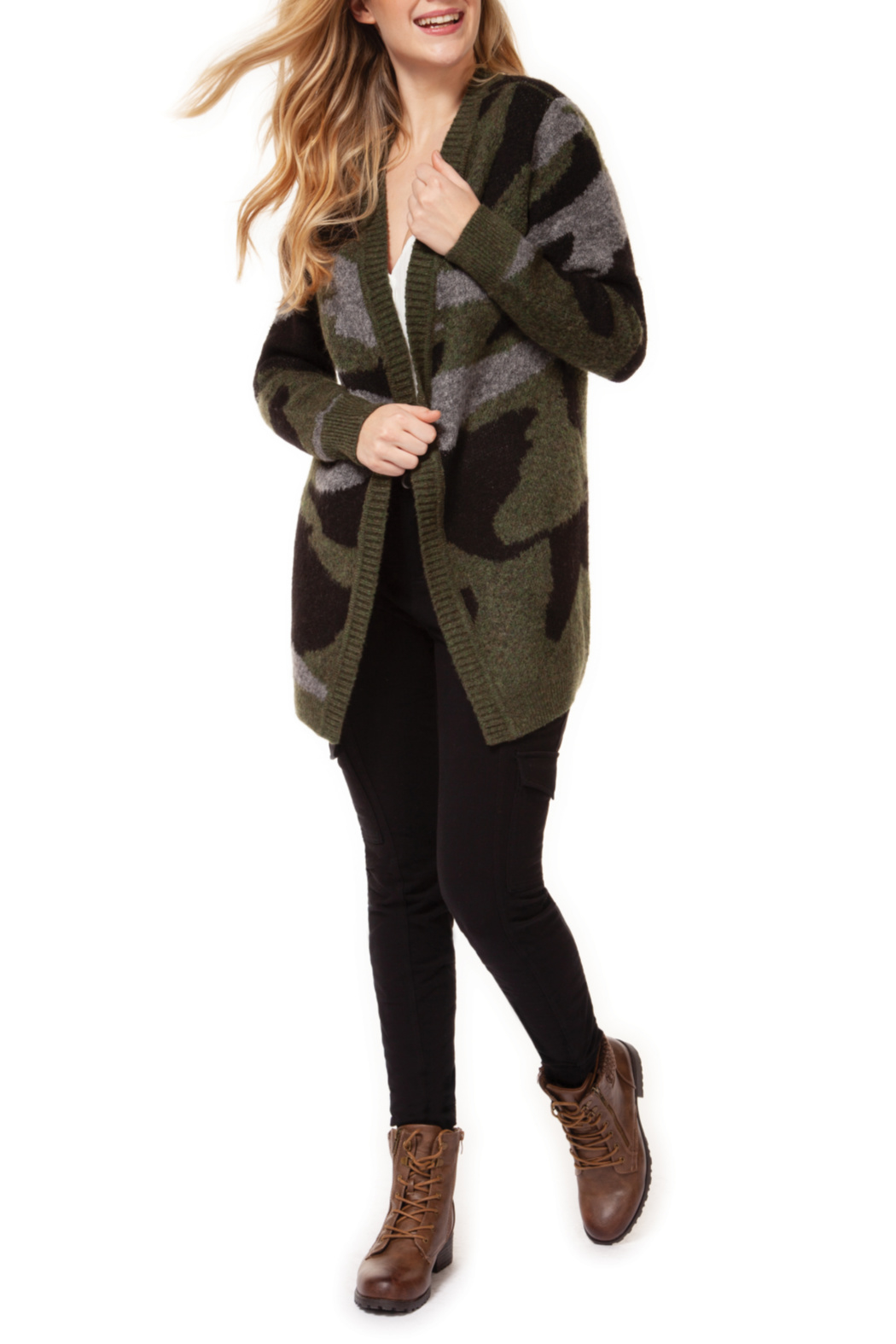Dex Open Camo Cardigan - Main Image