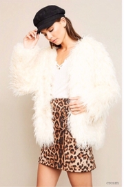 Hayden Los Angeles Open Front Faux Fur Shag Coat - Cream - Product Mini Image