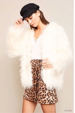 Hayden Los Angeles Open Front Faux Fur Shag Coat - Cream - Product List Image
