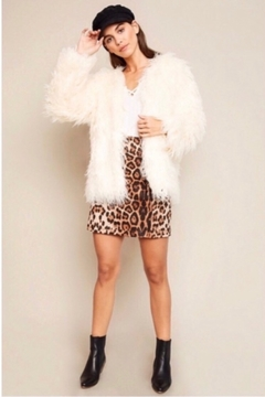 Hayden Los Angeles Open Front Faux Fur Shag Coat - Cream - Alternate List Image