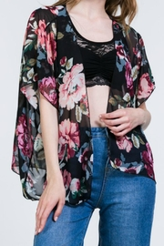 Color Swatch Open-Front Floral Kimono - Product Mini Image