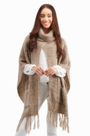 Two's Company Open Front Turtleneck Poncho - Product Mini Image