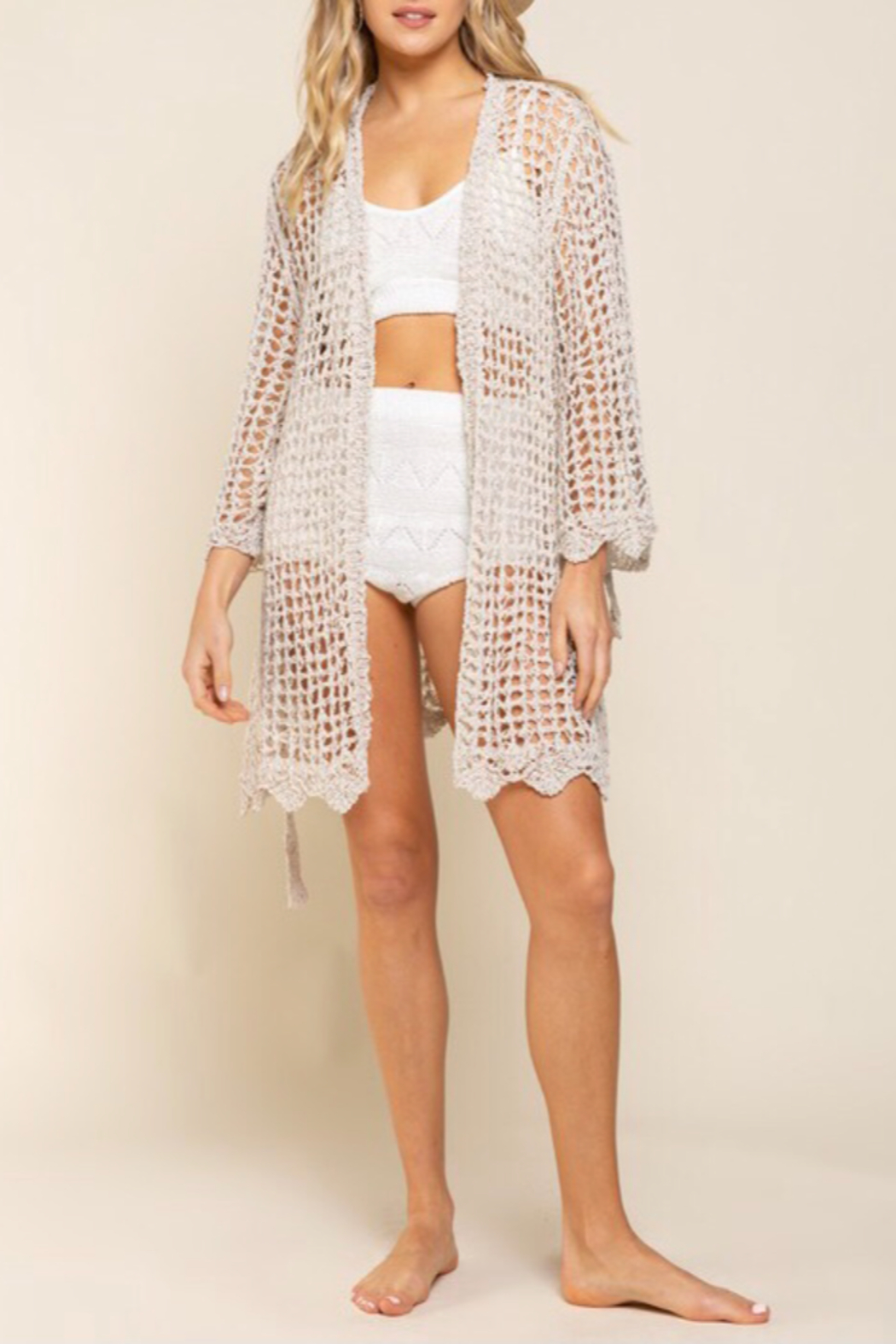 POL  Open knit cardigan - Back Cropped Image