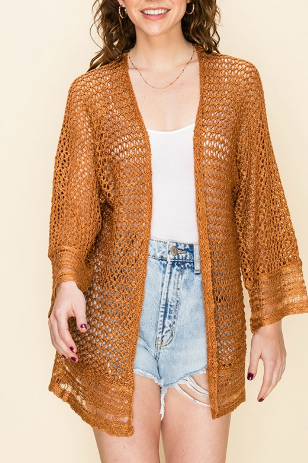 HYFVE OPEN KNIT CARDIGAN - Front Cropped Image