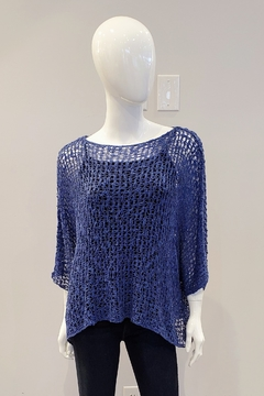 Marble Open Knit Popover, Denim Blue - Product List Image