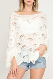 She + Sky Open Knit Sweater - Product Mini Image
