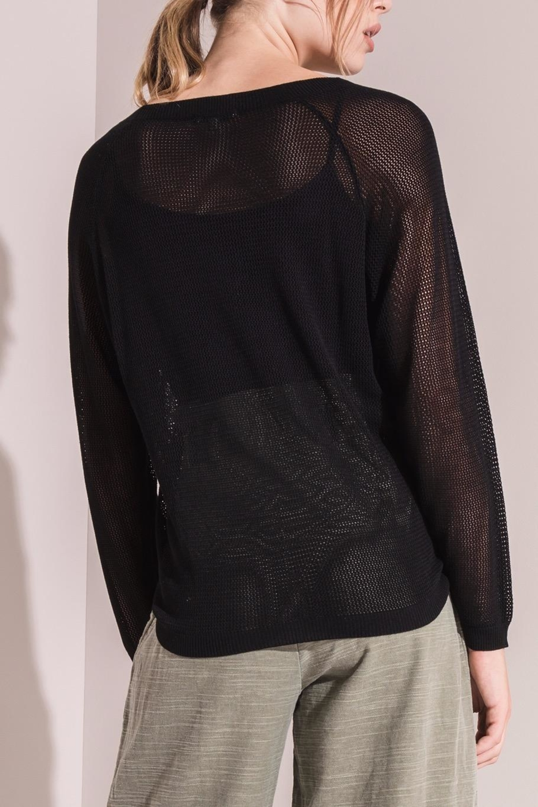 rag poets Open Knit Sweater - Side Cropped Image