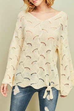 Shoptiques Product: Open-Knit Tie-Front Sweater