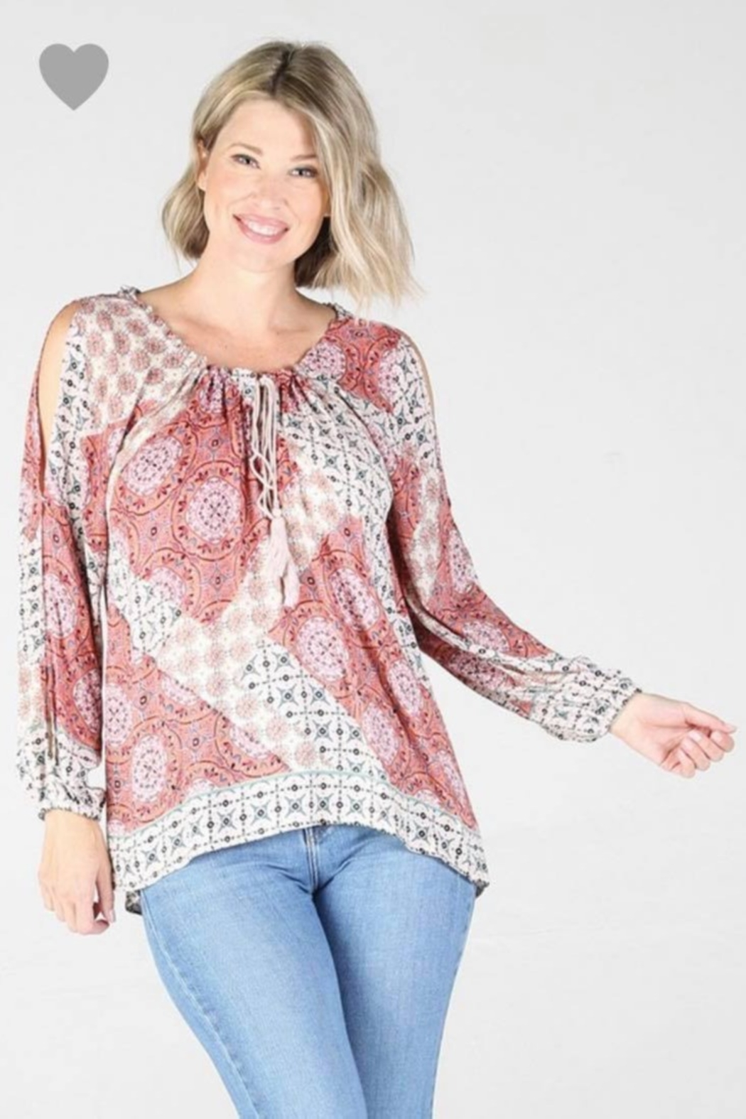 Angie OPEN SHOULDER, GEOMETRIC print top - Front Cropped Image